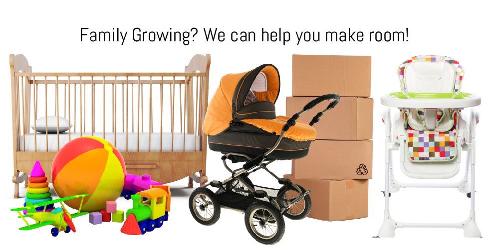 Various baby furniture and toys you can put in self-storage while your family grows