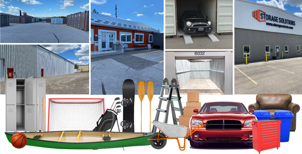 A collage showing Storage Solutions self-storage facilities and various items suitable for storage