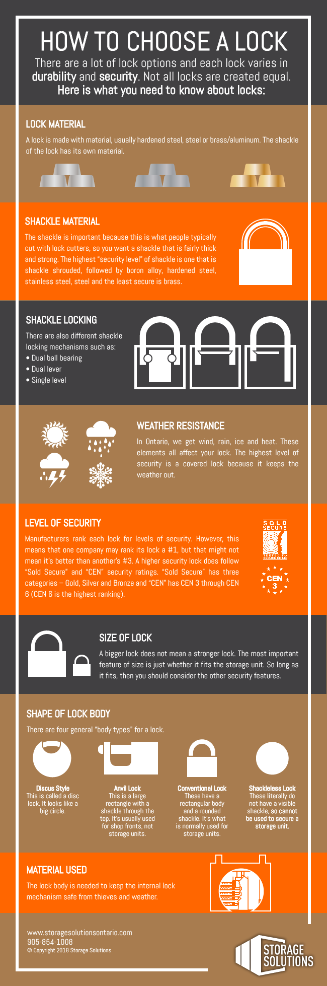 A graphic that shows you how to choose a lock for your self storage unit